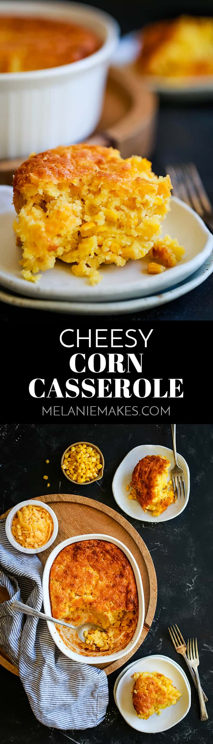 This comforting six ingredient Cheesy Corn Casserole takes just 10 minutes to prepare and will without a doubt become your most requested side dish. #cheese #corn #casserole #sidedish #easyrecipe #thanksgiving #christmas #easter