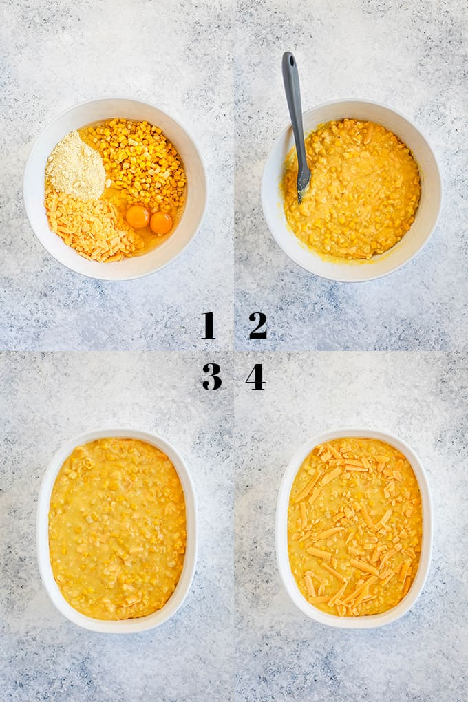 Step by step photos of how to create Cheesy Corn Casserole on a white speckled background.
