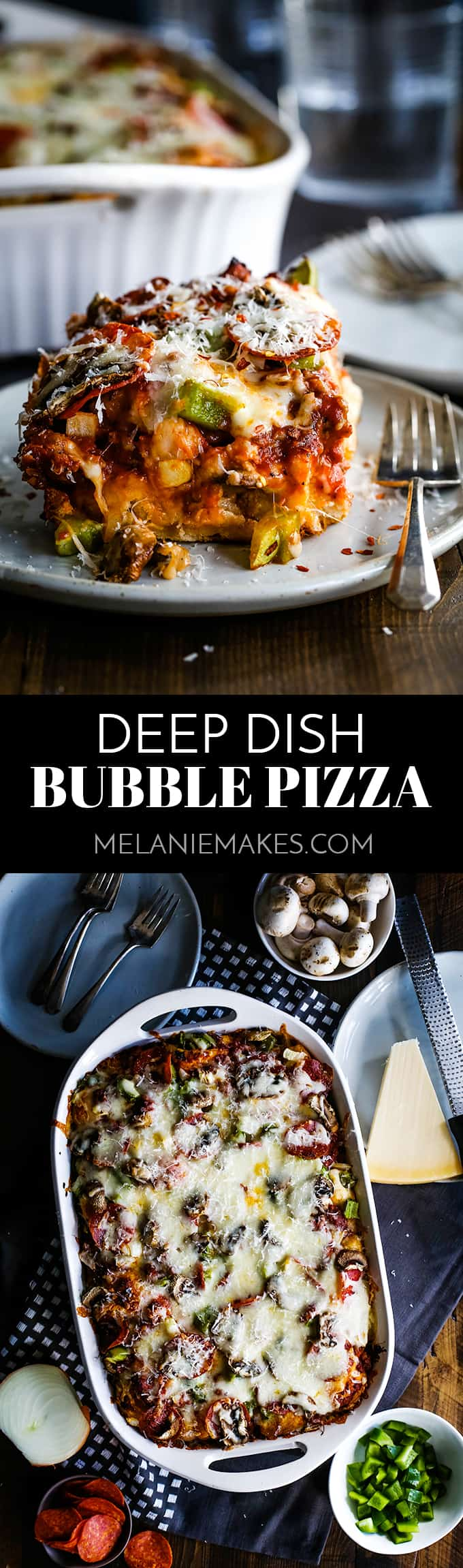 No yeast or rolling dough required - the no-fuss base of this Deep Dish Bubble Pizza comes from refrigerated biscuits! #pizza #biscuits #deepdish #easyrecipe #dinnerrecipe #pepperoni #cheese