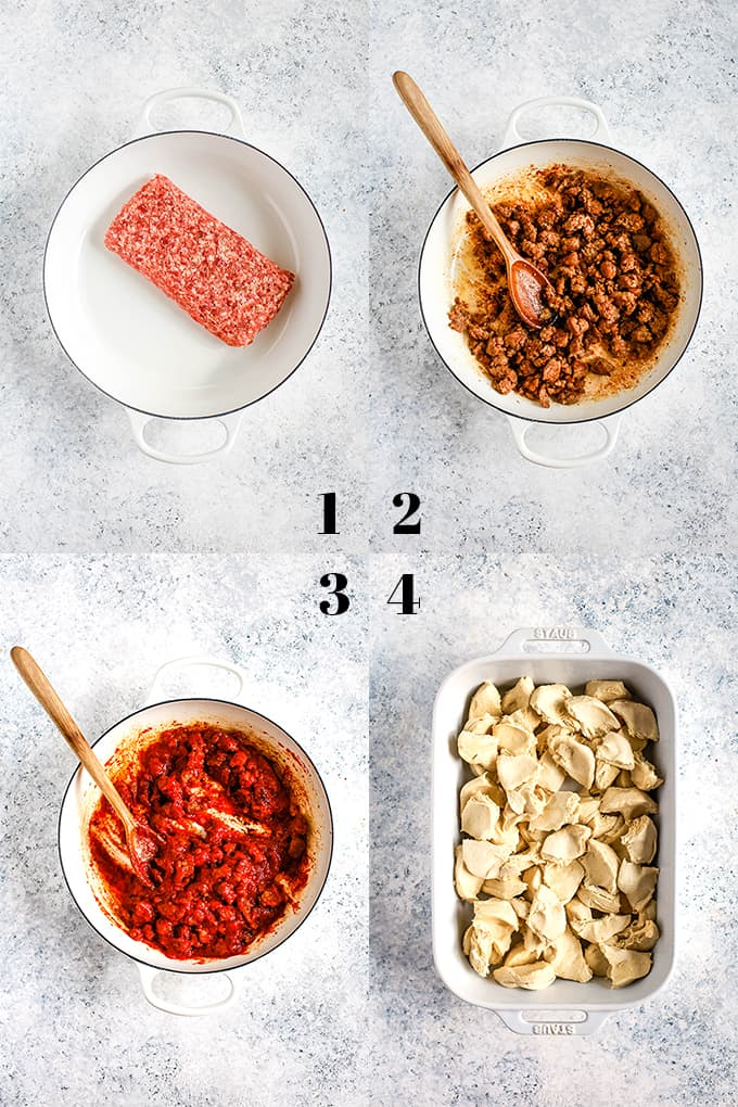 How to prepare Deep Dish Bubble Pizza, steps 1-4.