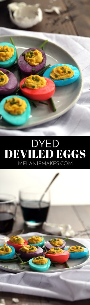 These Dyed Deviled Eggs are an instant Easter - or anytime! - celebration.  The hard boiled egg whites are easily transformed into brightly hued beauties. #easter #dye #eggs #deviledeggs #easyrecipe