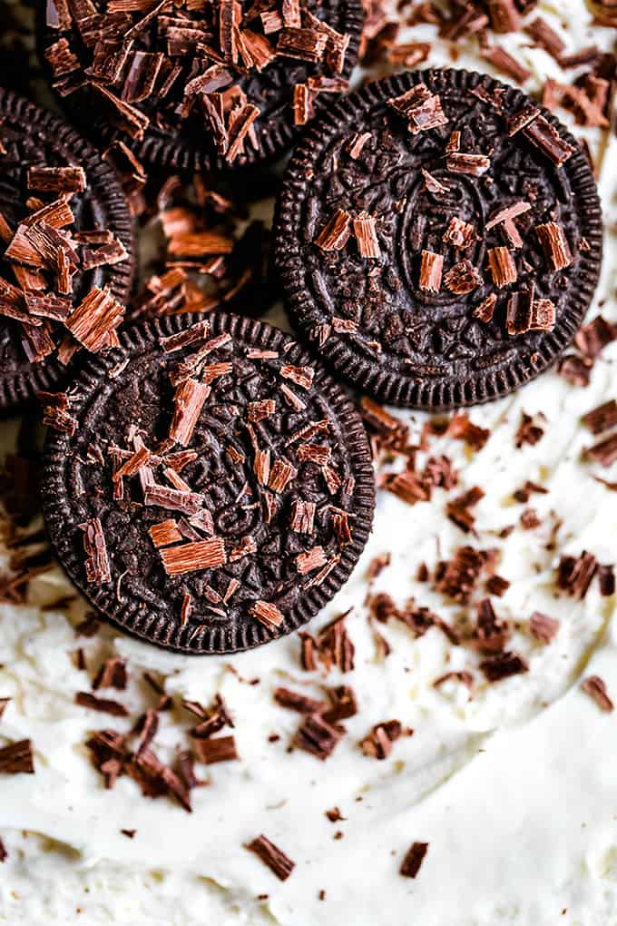 Oreos and chocolate shavings garnish an Irish Cream Oreo Icebox Cake.