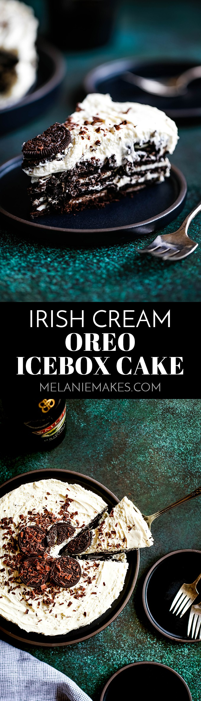 This no bake Irish Cream Oreo Ice Box Cake is likely one of the easiest desserts you'll ever make and absolutely perfect to enjoy for St. Patrick's Day. #irish #oreo #cake #nobake #whippedcream #easyrecipe #stpatricksday