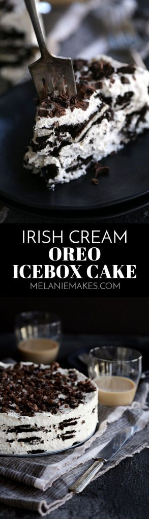 This six ingredient no bake Irish Cream Oreo Ice Box Cake is likely one of the easiest desserts you'll ever make and absolutely perfect to enjoy for St. Patrick's Day. Layers of Oreos and Irish cream spiked mascarpone whipped cream make up this dreamy sweet treat.