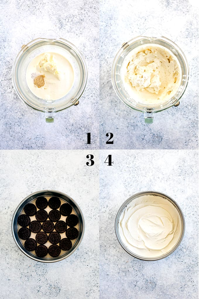 How to create an Irish Cream Oreo Icebox Cake, steps 1-4.