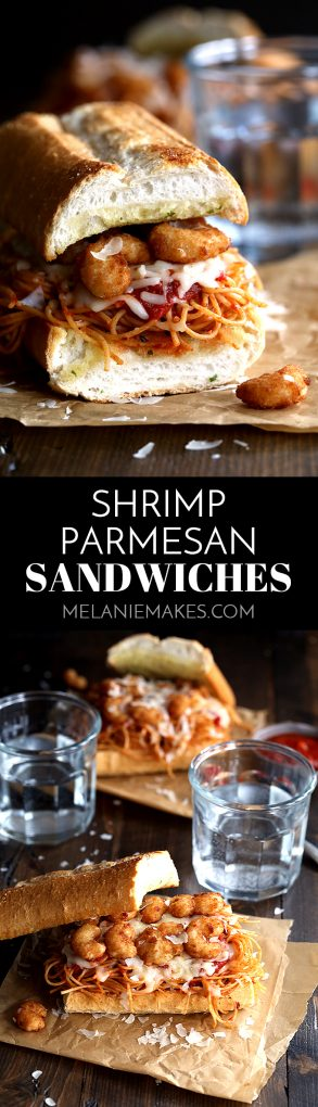 These six ingredient Shrimp Parmesan Sandwiches take just 10 minutes to prepare. Spaghetti with marinara sauce, popcorn shrimp and mozzarella and Parmesan cheese are sandwiched between two pieces of crusty garlic bread - the perfect meatless meal during Lent! #shrimp #parmesan #sandwiches #easydinner #popcornshrimp #mozzarella