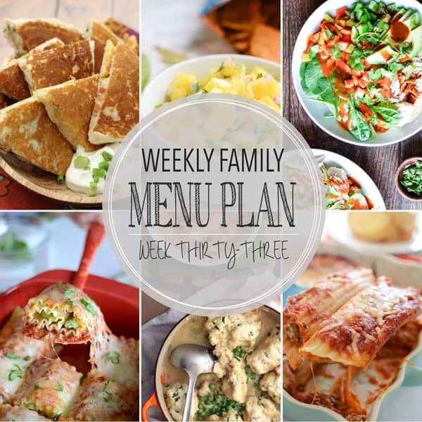 Weekly Family Menu Plan - Week 33 | Melanie Makes