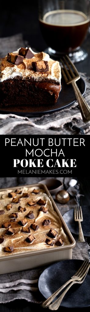 This Peanut Butter Mocha Poke cake is so decadent, so rich, and so incredibly easy! A mocha chocolate cake is flooded with peanut butter chocolate pudding before being topped with layers of mocha ganache, whipped topping and dark chocolate peanut butter cups before being dusted with espresso powder. #peanutbutter #mocha #chocolate #cake