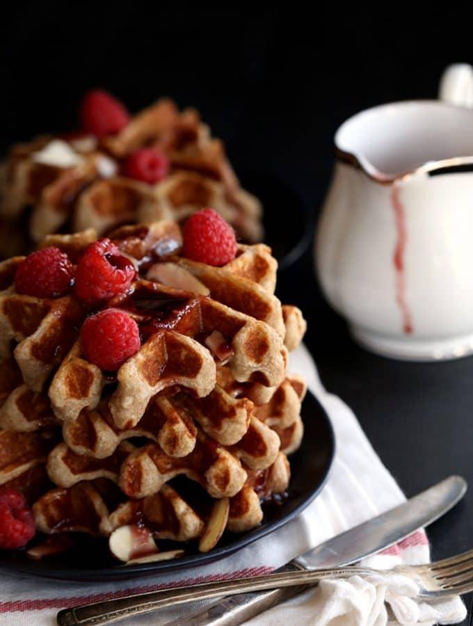 Raspberry Almond Belgian Waffles
