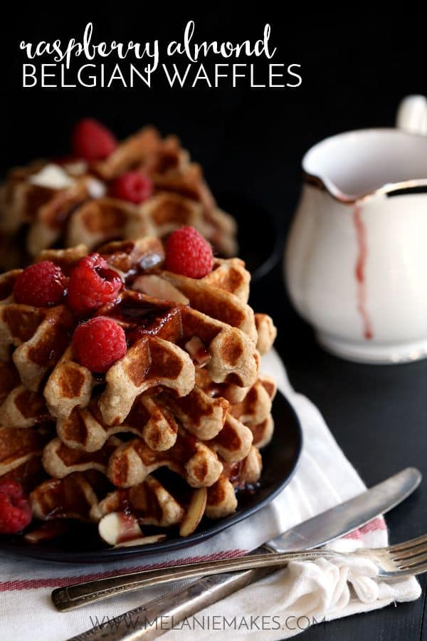 Raspberry Almond Belgian Waffles | Melanie Makes