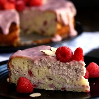 Raspberry Almond Cheesecake Cake | Melanie Makes