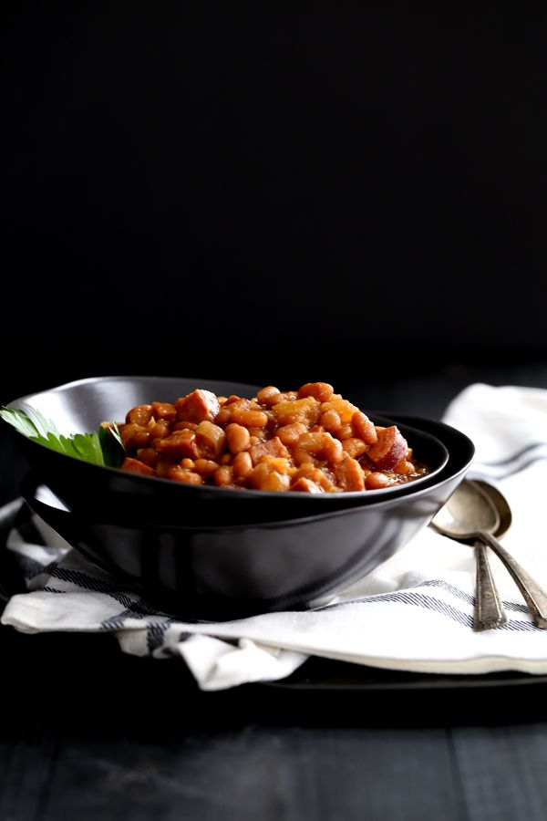 These eight ingredient Slow Cooker Smoky Baked Beans take just 10 minutes to prepare as everything is simply stirred together in the slow cooker and left to simmer into delicious perfection.