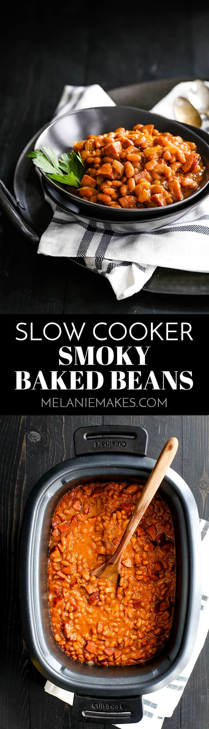 These eight ingredient Slow Cooker Smoky Baked Beans take just 10 minutes and are the perfect side dish to any barbecue or cookout. #slowcooker #crockpot #bakedbeans #beans #sidedish #easyrecipe