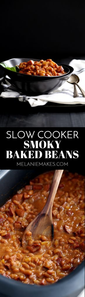 These eight ingredient Slow Cooker Smoky Baked Beans take just 10 minutes to prepare as everything is simply stirred together in the slow cooker and left to simmer into delicious perfection. #slowcooker #crockpot #bakedbeans #kielbasa #bacon #bbq #sidedish