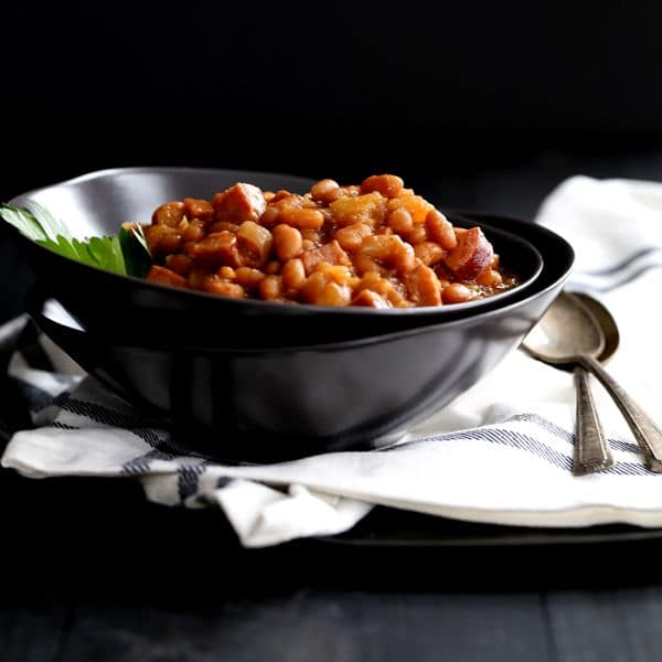 Slow Cooker Smoky Baked Beans | Melanie Makes