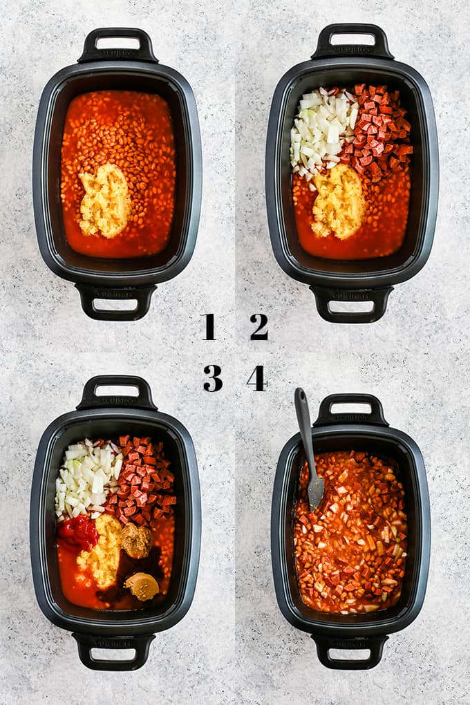 How to prepare Slow Cooker Smoky Baked Beans, steps 1-4.