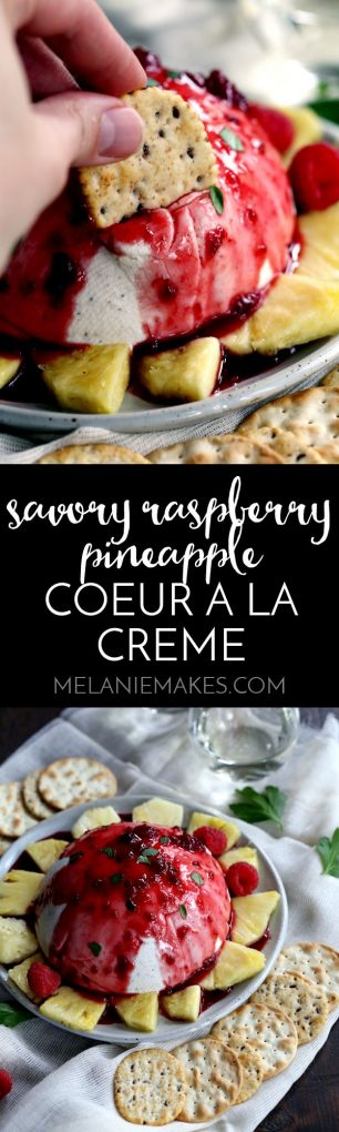 No one will ever guess this make ahead Savory Raspberry Pineapple Coeur a la Creme takes just 10 minutes to prepare. Cream cheese and heavy cream are combined to create an amazing spread that's doused in a raspberry pineapple sauce, flecked with red pepper flakes.