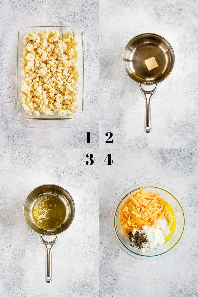 How to prepare Easy Cheesy Hash Brown Potatoes, steps 1-4.
