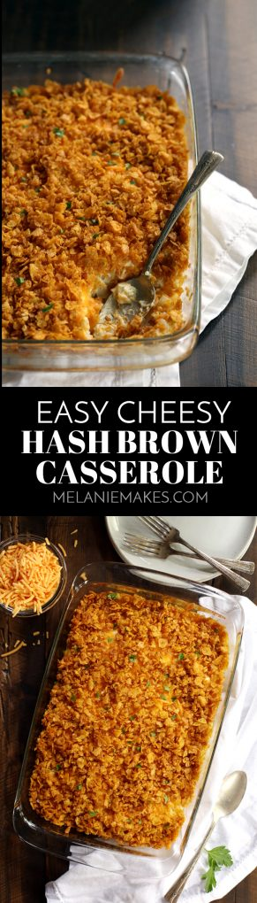 These six ingredient Easy Cheesy Hash Brown Potatoes take just 10 minutes to prepare and are destined to become your favorite side dish! #easyrecipe #sidedish #potatoes #easter #thanksgivingrecipes #christmasrecipes #cheese