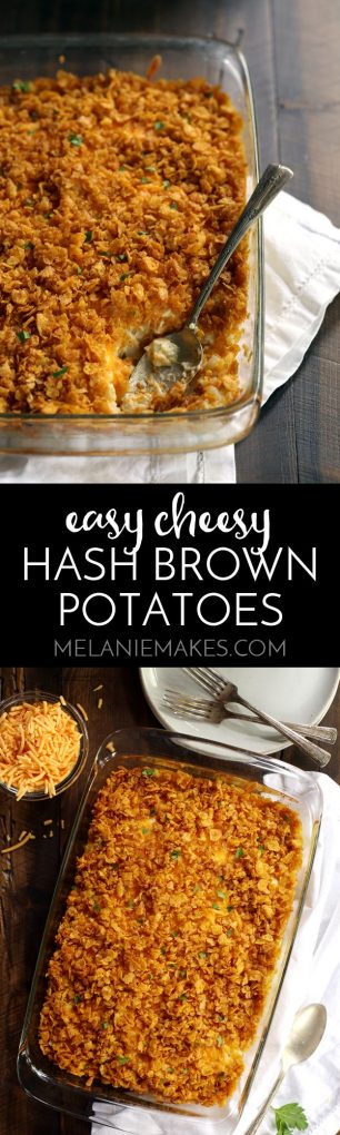 These six ingredient Easy Cheesy Hash Brown Potatoes take just 10 minutes to prepare and are destined to become your favorite side dish! Diced hash brown potatoes are smothered in a blanket of cheese and Greek yogurt before being topped with even more cheese and a crispy, buttery cornflake topping.