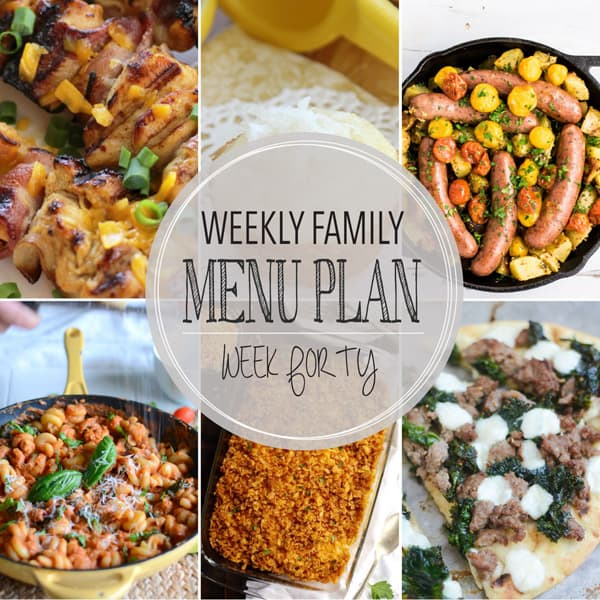 Weekly Family Menu Plan – Week 40