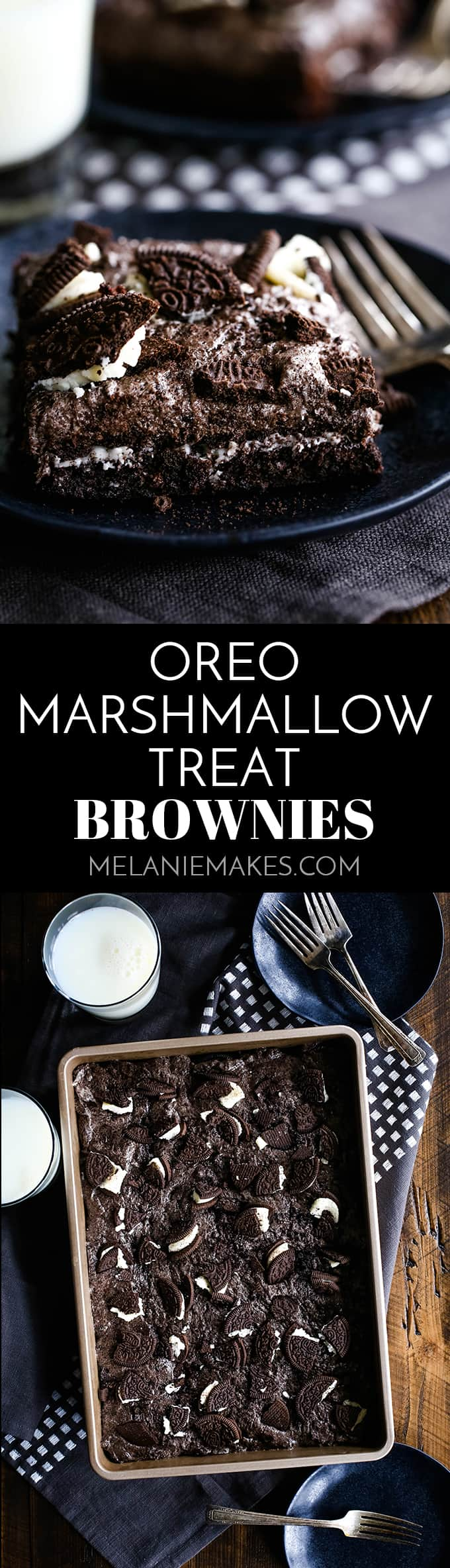 These Oreo Marshmallow Treat Brownies are what Oreo lovers dream about.  A single pan of brownies that includes TWO packages of Double Stuf Oreos. #oreo #marshmallow #brownies #chocolate #dessertrecipes #easyrecipe