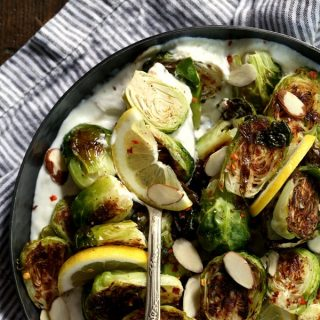 Roasted Brussels Sprouts with Lemon and Greek Yogurt | Melanie Makes