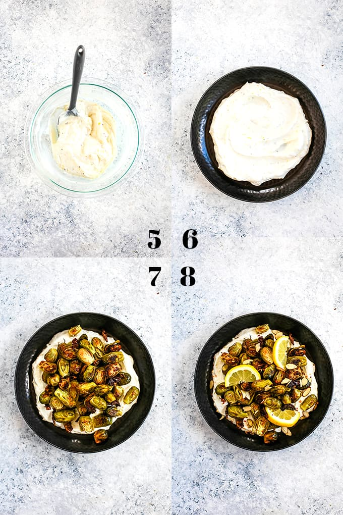 How to prepare Roasted Brussels Sprouts with Lemon and Greek Yogurt, steps 5-8.