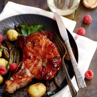 Sheet Pan Raspberry Pineapple Pork Chops | Melanie Makes