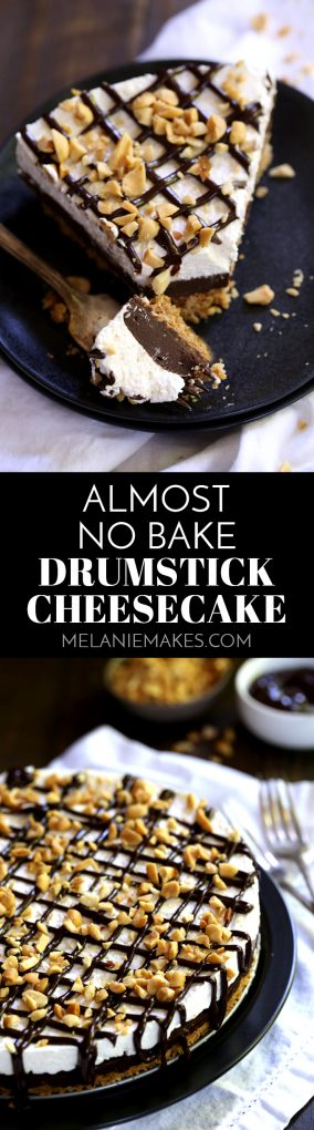 My Almost No Bake Drumstick cheesecake is a delicious take on a childhood favorite. A waffle cone crust is layered with chocolate ganache and no bake cheesecake before being drizzled with even more chocolate and chopped peanuts.