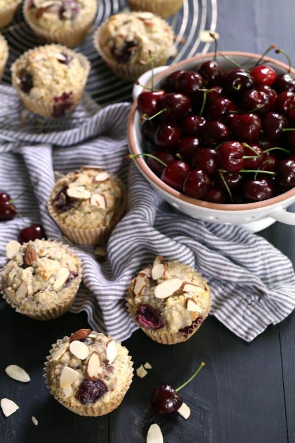 You'll love my shortcut to these speedy six ingredient Cherry Almond Oatmeal Muffins. In just ten minutes, they're ready for a trip to the oven and emerge studded with almonds and cherries. A perfect companion to your favorite morning beverage.