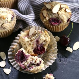 Cherry Almond Oatmeal Muffins | Melanie Makes
