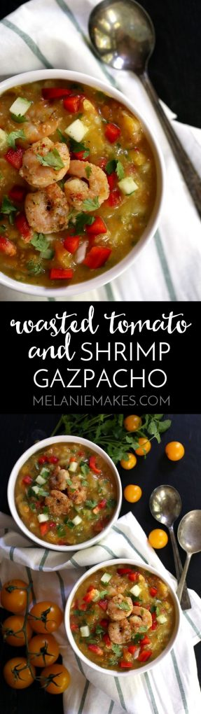 This seven ingredient Roasted Tomato and Shrimp Gazpacho is an easy make ahead meal. Roasted tomatoes, cucumber, red pepper, jalapeno, cilantro and garlic are stirred together with shrimp to create this flavorful warm weather soup.