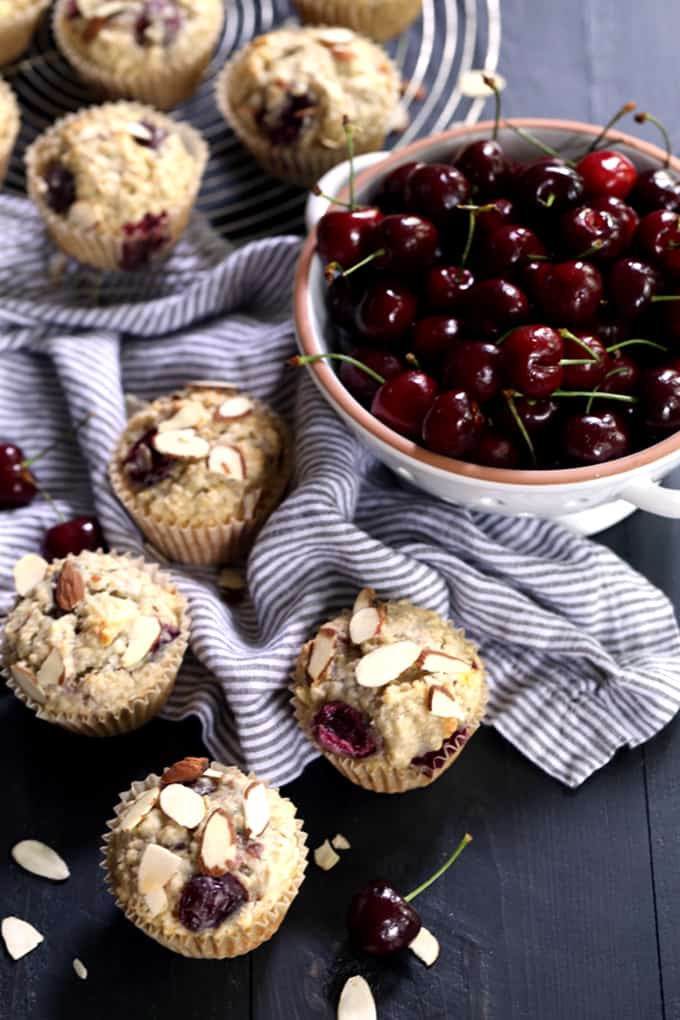 You'll love my shortcut to these speedy six ingredient Cherry Almond Oatmeal Muffins. In just ten minutes, these almond and cherry studded muffins are ready the oven. A perfect companion to your favorite morning beverage.