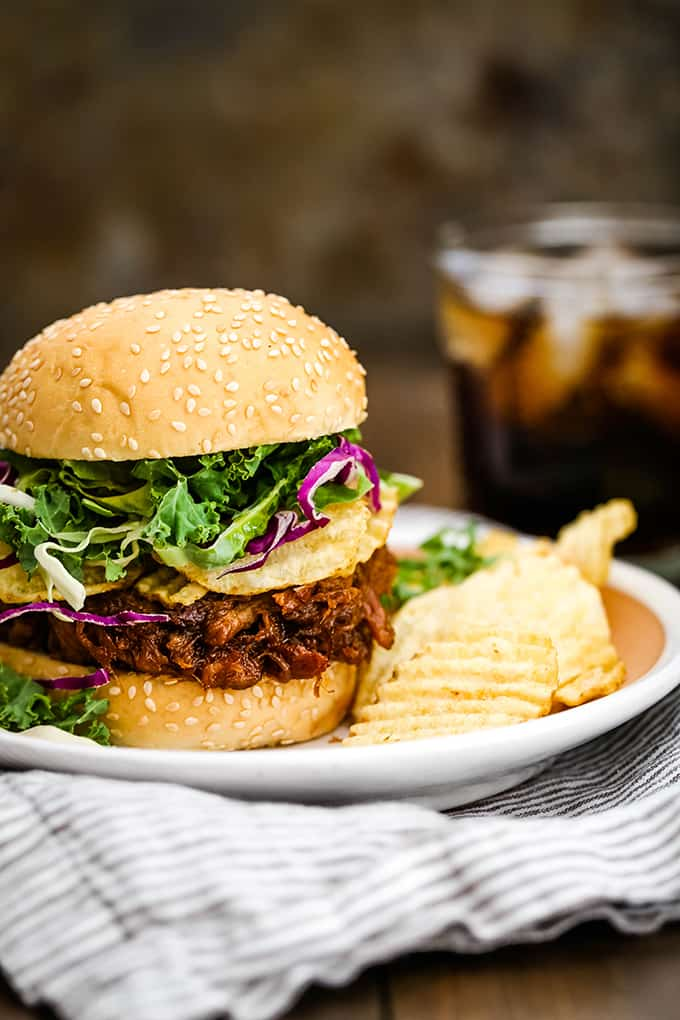 A Slow Cooker Cherry Cola Pulled Pork sandwich sits on a plate with potato chips.
