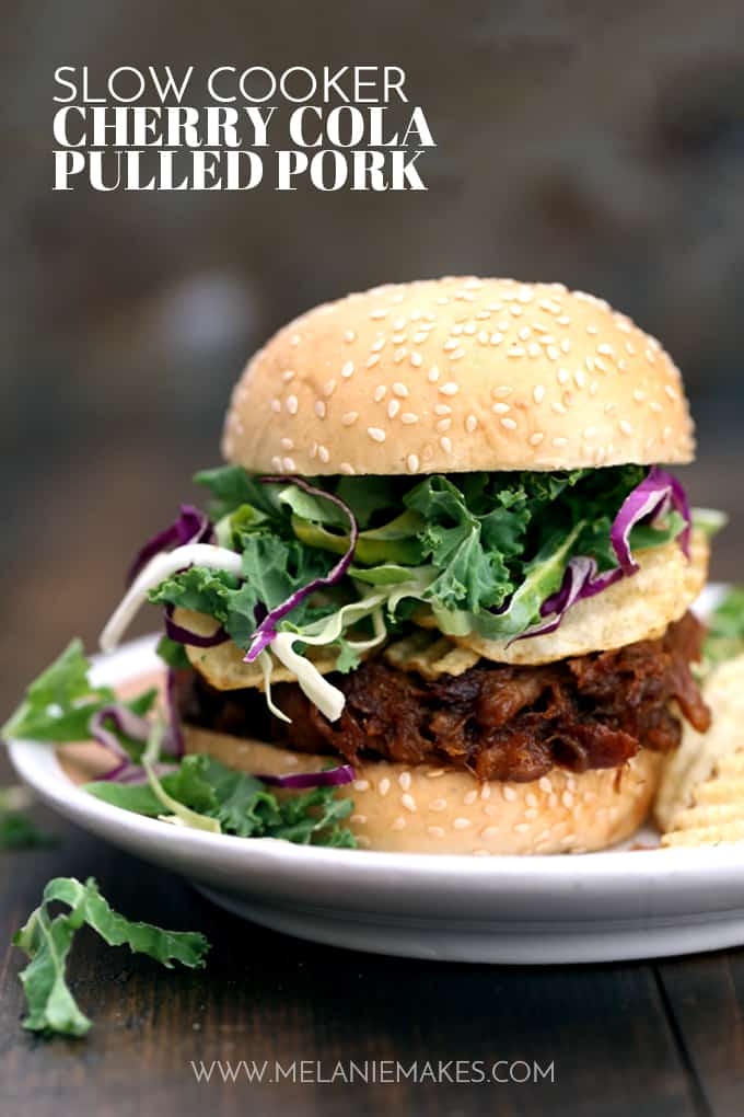 This four ingredient Slow Cooker Cherry Cola Pulled Pork takes less than 10 minutes to prepare which guarantees you have no excuse to not add it to your dinner menu, stat. A pork shoulder roast, cherry cola and brown sugar simmer away all day to create a sticky sweet sandwich filling that's then spiked with your favorite barbecue sauce.