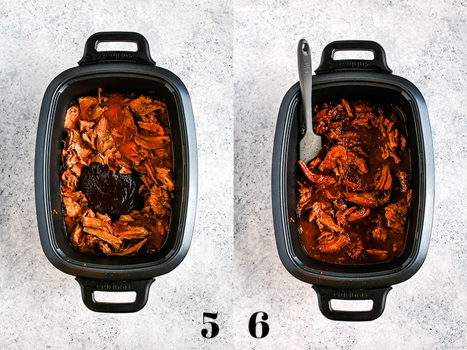How to prepare Slow Cooker Cherry Cola Pulled Pork, steps 5-6.