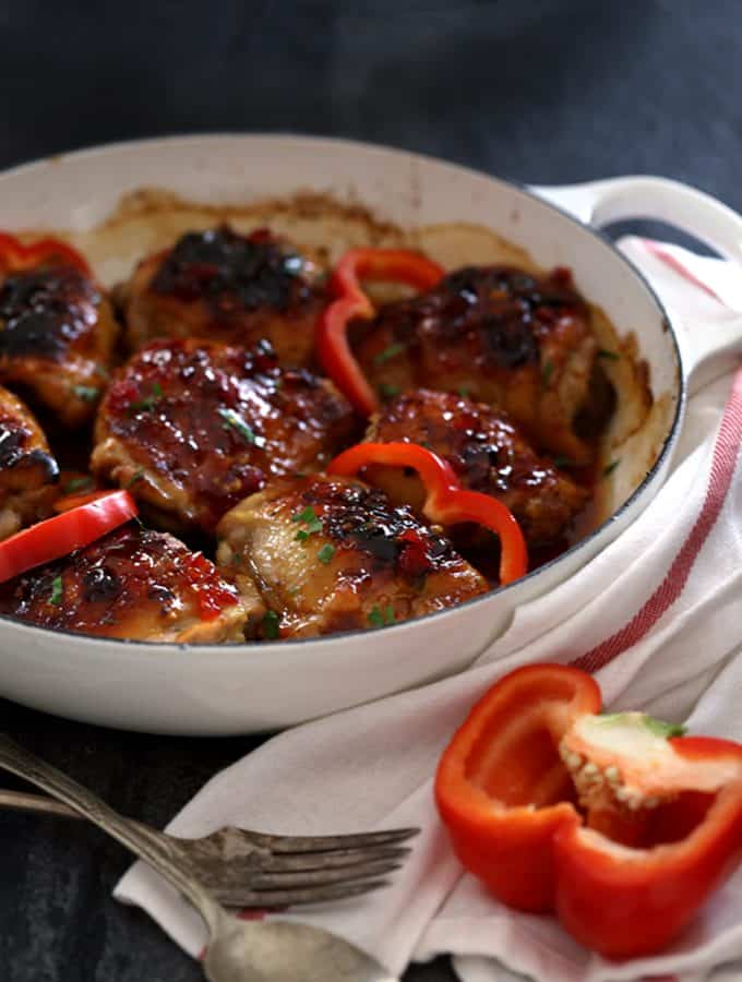 Sticky Roasted Red Pepper Chicken Thighs