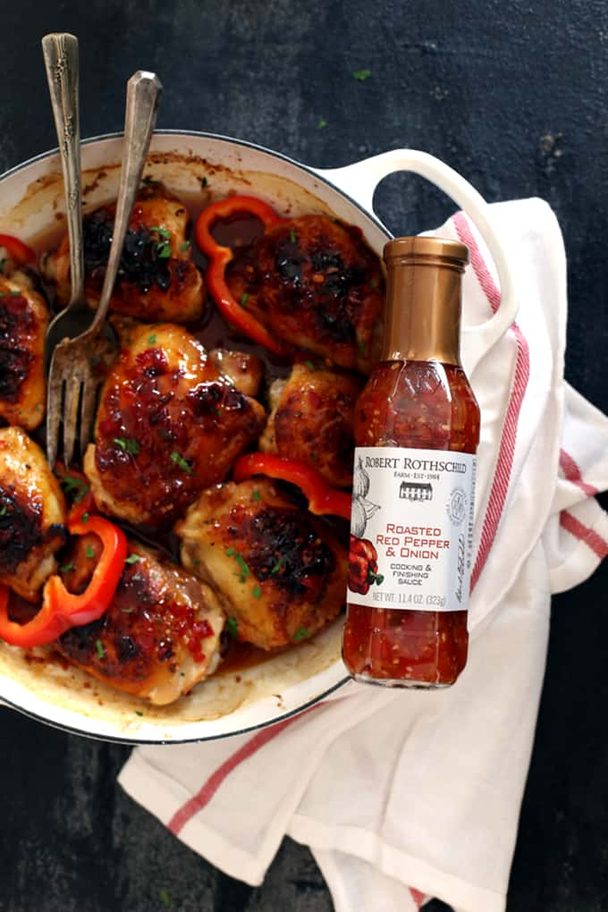 Sticky Roasted Red Pepper Chicken Thighs | Melanie Makes