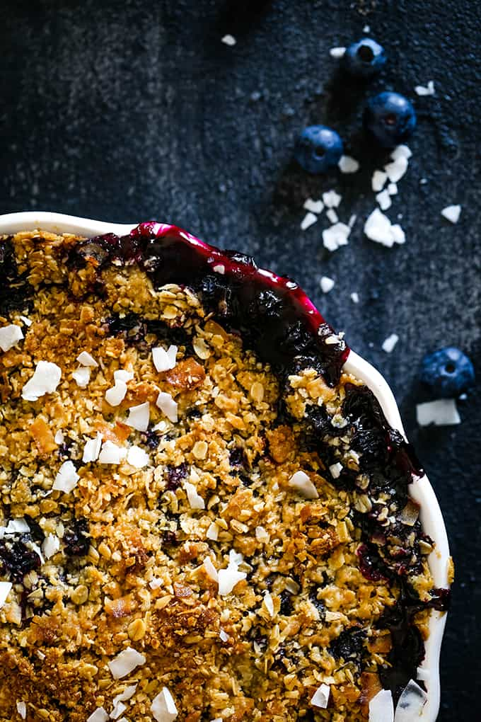 The oat topping of a Coconut Blueberry Crisp.