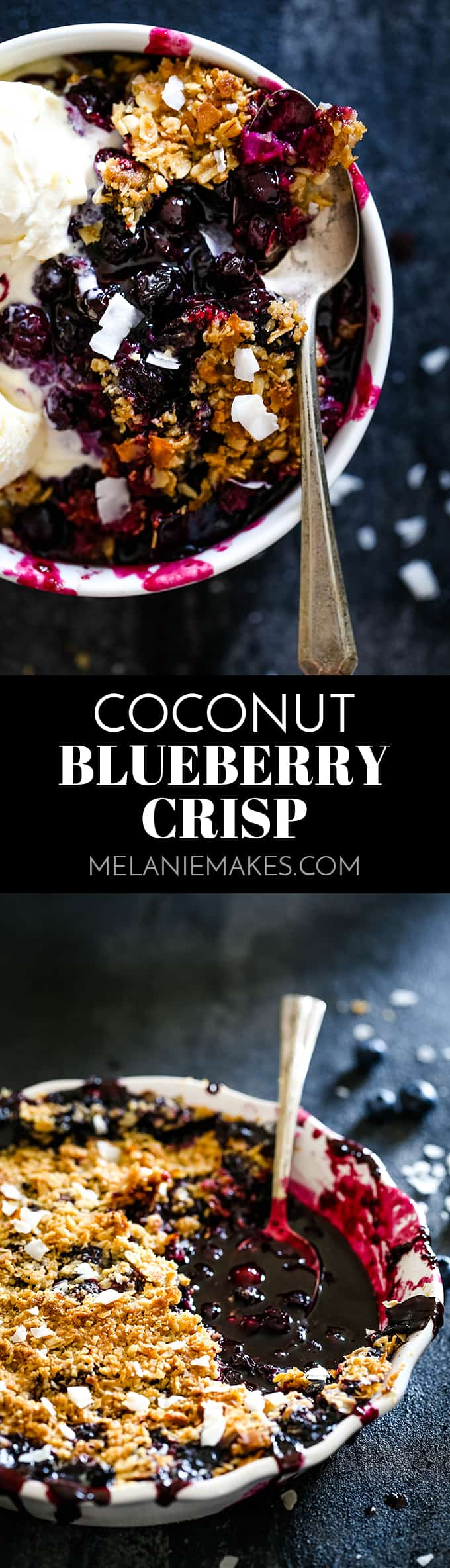 It takes just 15 minutes to prepare this delicious Coconut Blueberry Crisp featuring warm, bubbly blueberries capped by a crunchy cap of oats and coconut. #coconut #blueberry #fruitcrisp #dessertrecipes #easyrecipe #fruit