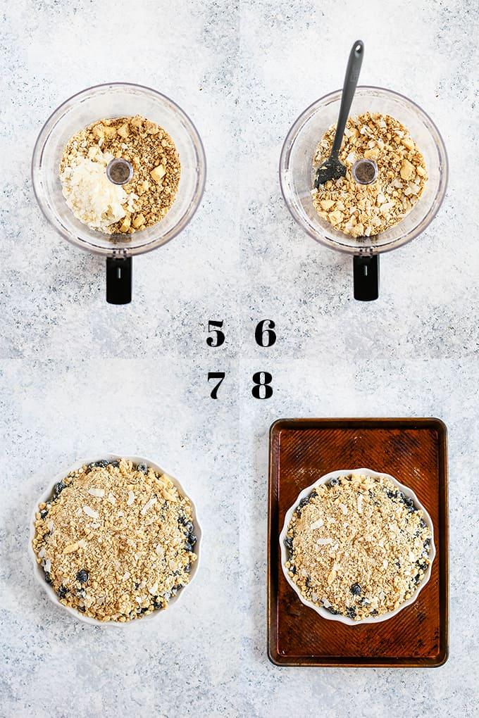 How to prepare Coconut Blueberry Crisp, steps 5-8.