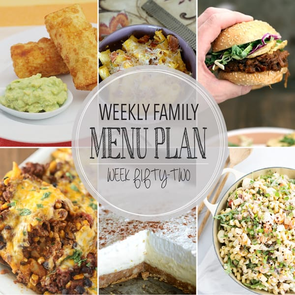 Weekly Family Meal Plan – Week 52