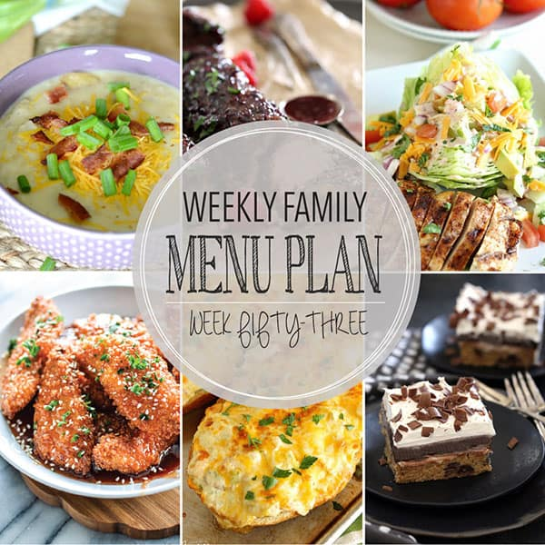 Weekly Family Menu Plan - Week 53 | Melanie Makes