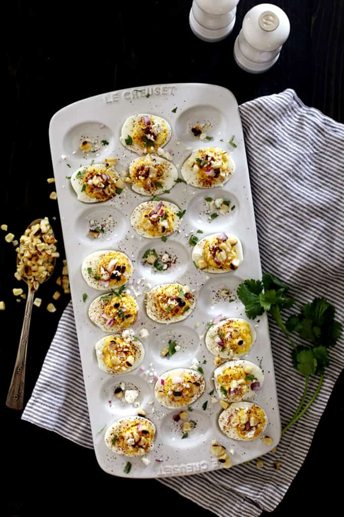 Mexican Street Corn Deviled Eggs | Melanie Makes