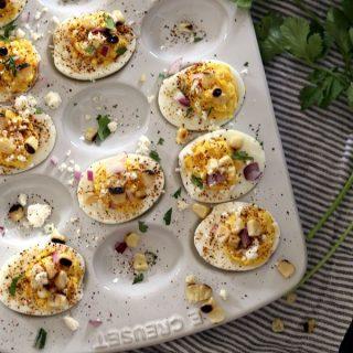 Mexican Street Corn Deviled Eggs | Melanie Makes