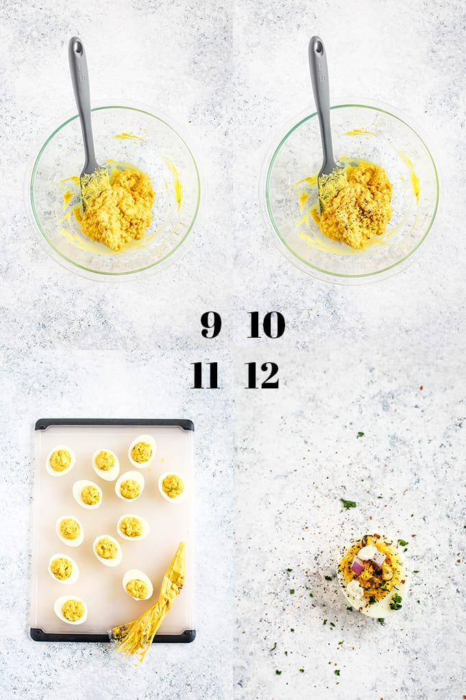 How to prepare Mexican Street Corn Deviled Eggs, steps 9-12.