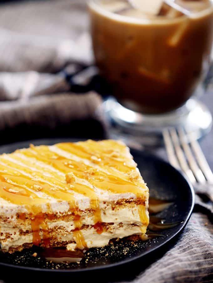 No Bake Caramel Macchiato Cake | Melanie Makes