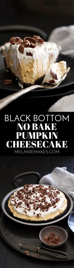 This Black Bottom No Bake Pumpkin Cheesecake is a pumpkin and chocolate lover's dream. An Oreo crust is painted with a thick layer of chocolate ganache before being filled with a no bake pumpkin cheesecake filling spiked with cinnamon, nutmeg, cloves and ginger. It's then topped with a cloud of whipped topping and showered with chocolate curls before being sliced and served to what will no doubt be an adoring crowd.