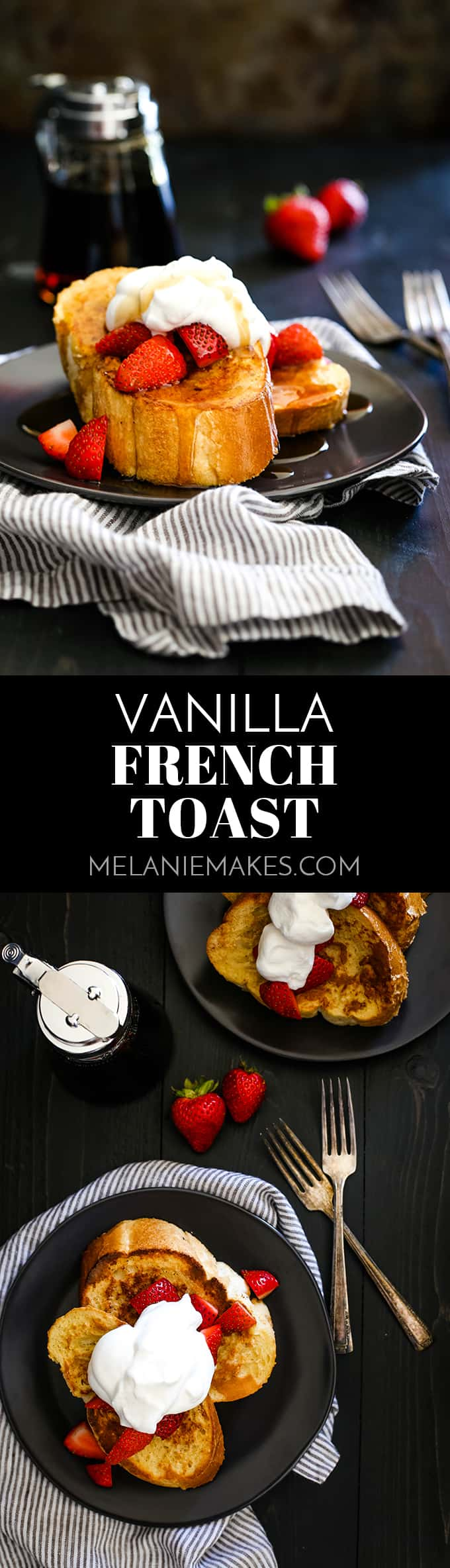 This Vanilla French Toast is guaranteed to become your new favorite as each slice is spiked with both vanilla extract and vanilla paste. So delicious! #frenchtoast #breakfast #breakfastrecipes #vanilla #brunch #bread